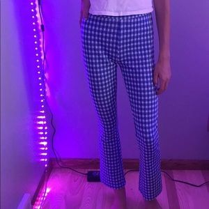 Blue and White Gingham Pants
